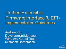 Unified Extensible Firmware Interface (UEFI)