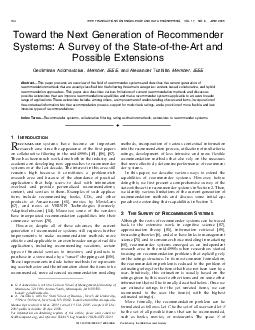 Toward the Next Generation of Recommender Systems A Survey of the StateoftheArt