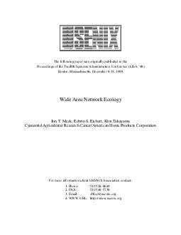 The following paper was originally published in the Proceedings of the Twelfth Systems Administration Conference LISA  Boston Massachusetts December   For more information about USENIX Association co