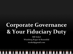 Corporate Governance & Your Fiduciary Duty
