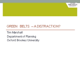 Green belts – a distraction?