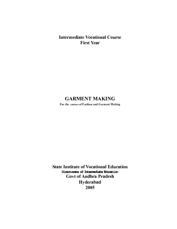 Intermediate Vocational CourseFirst YearFor the  course of Fashion and