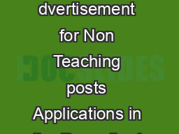 DESHBANDHU COLLEGE UNIVERSITY OF DELHI KALKAJI NEW DELHI  dvertisement for Non Teaching posts Applications in the Prescribed Form are invited f eligible candid ates for the following regular Non Teac