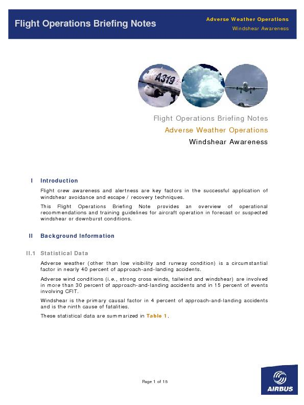 Adverse Weather OperationsFlight Operations Briefing Notes