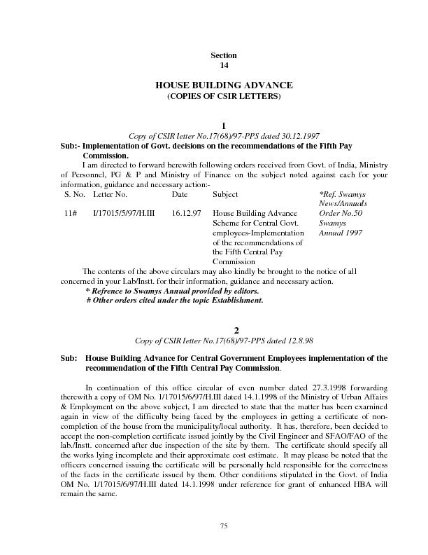 75 Section  HOUSE BUILDING ADVANCE (COPIES OF CSIR LETTERS) Copy of CS
