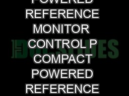 CONTROL P COMPACT POWERED REFERENCE MONITOR  CONTROL P COMPACT POWERED REFERENCE MONITOR www