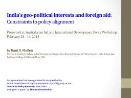 India's geo-political interests and foreign aid