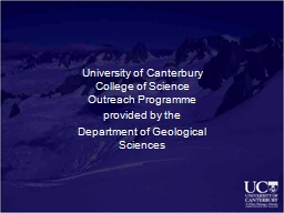 University of Canterbury  College of Science Outreach Progr
