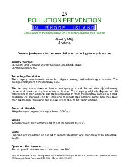 For more information contact RI Department of Environmental Management Office of Technical and Customer Assistance  Promenade Street Prov idence RI  Phone    POLLUTION PREVENTION Case studies of the