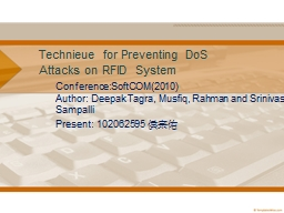 Technieue for Preventing DoS Attacks on RFID System