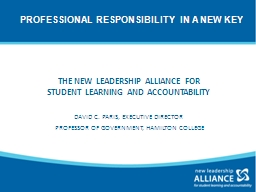 THE NEW LEADERSHIP ALLIANCE FOR