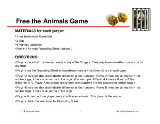 Free the Animals Game MATERIALS for each player Free the Animals Game Mat  dice