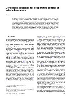 Consensus strategies for cooperative control of vehicle formations W