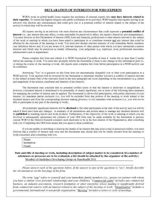 DECLARATION OF INTERESTS FOR WHO EXPERTS