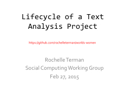 Lifecycle of a Text Analysis Project