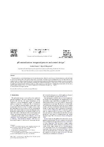 Computers and Chemical Engineering    pHneutralization integrated process and control design Audun Faanes  Sigurd Skogestad Department of Chemical Engineering Norwegian University of Science and Tech PDF document - DocSlides