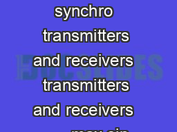 synchro  synchro applications  control synchro  torque synchro  transmitters and receivers  transmitters and receivers        max sin sin sin   sin   out rotor o rotor rotor rotor in VVt VkV VkV VkV