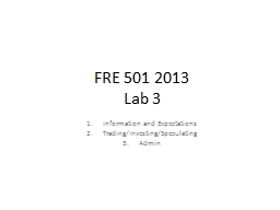 FRE 501 2013 PowerPoint PPT Presentation