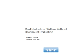 Cost Reduction: With or Without Headcount Reduction PowerPoint PPT Presentation