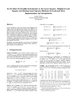 An AsShortAsPossible Introduction to the Least Squares Weighted Least Squares an PDF document - DocSlides