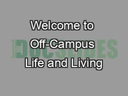 Welcome to Off-Campus Life and Living
