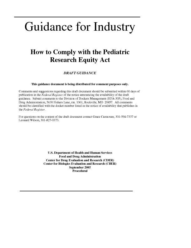 How to Comply with the Pediatric DRAFT GUIDANCE This guidance document