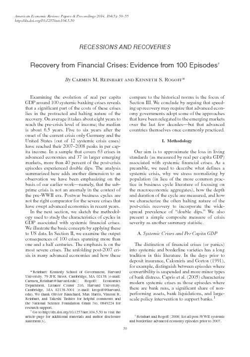 We anchor our analysis of the economic cycle around nancial crises on
