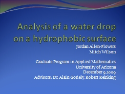 Analysis of a water drop on a hydrophobic surface