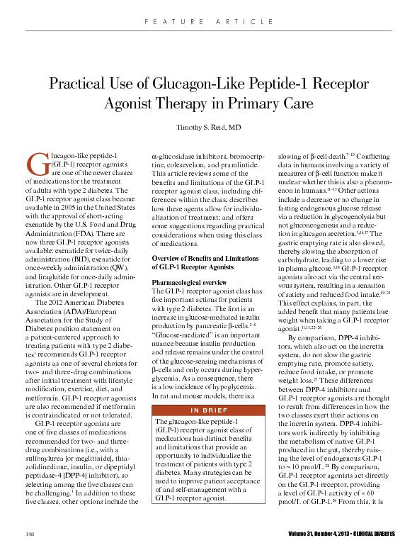 Practical Use of Glucagon-Like Peptide-1 Receptor Agonist Therapy in P PowerPoint PPT Presentation