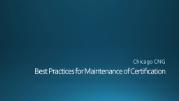 Best Practices for Maintenance of Certification