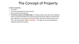 The Concept of Property