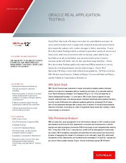 ORACLE DATA SHEET KEY FEATURES AND BENEFITS ORACLE REAL APPLICAT ION TESTING  ON