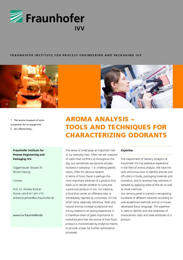 FRAUNHOFER INSTITUTE FOR PROCESS ENGINEERING AND PACKAGING IVV ...
