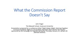 What the Commission Report Doesn't Say