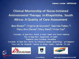 Clinical Mentorship of Nurse-Initiated Antiretroviral PowerPoint PPT Presentation