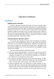 EXECUTIVE SUMMARY NO MORE FAILURES TEN STEPS TO EQUITY IN EDUCATION  ISBN    OECD   Executive Summary Introduction Defining equity in education Equity in education has two dimensions