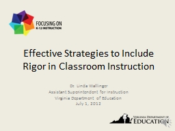 Effective Strategies to Include Rigor in Classroom Instruct