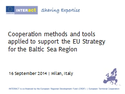 Cooperation methods and tools applied to support the EU Str PowerPoint PPT Presentation