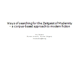 Ways of searching for the Zeitgeist of Modernity - a corpus