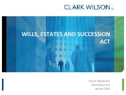 WILLS, ESTATES AND SUCCESSION ACT