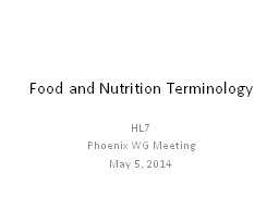 Food and Nutrition Terminology