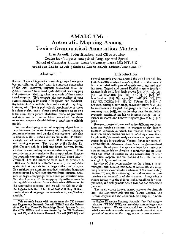 : Automatic Mapping Among Lexico-Grammatical Annotation Models Atwell,