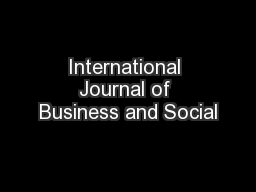 International Journal of Business and Social