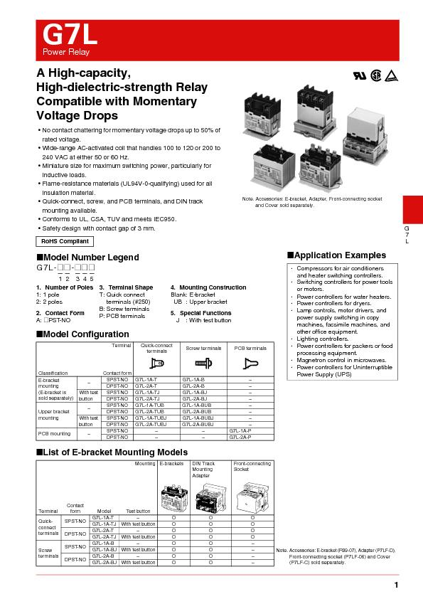 Power Relay•No contact chattering for momentary voltage drops up