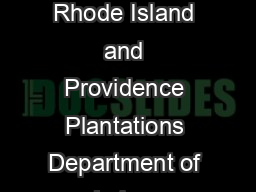State of Rhode Island and Providence Plantations Department of Labor &