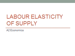 Labour Elasticity of Supply