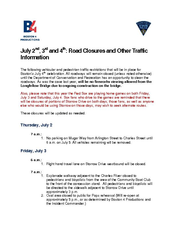 Road Closures and Other Traffic