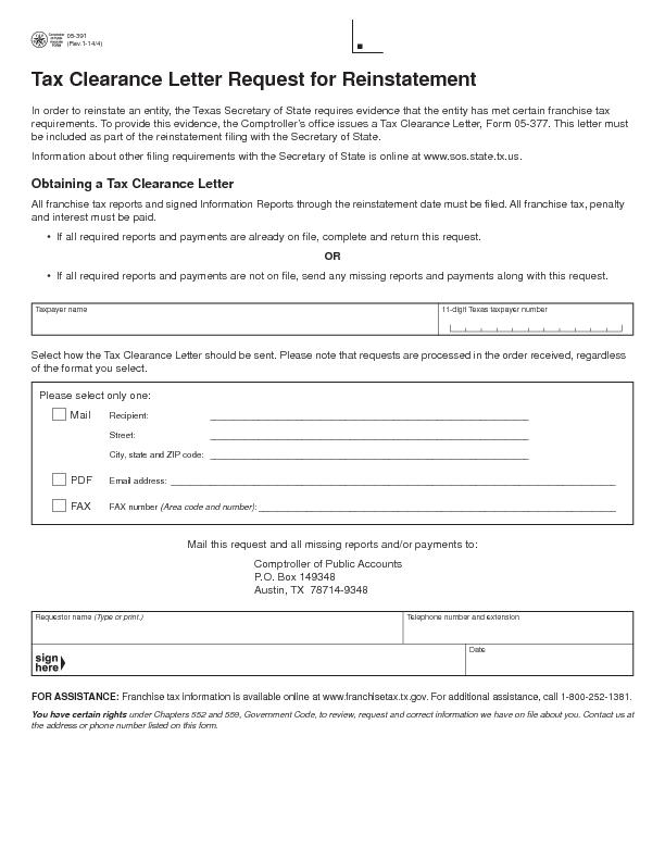 Tax Clearance Letter Request for Reinstatement