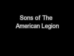 Sons of The American Legion PowerPoint PPT Presentation