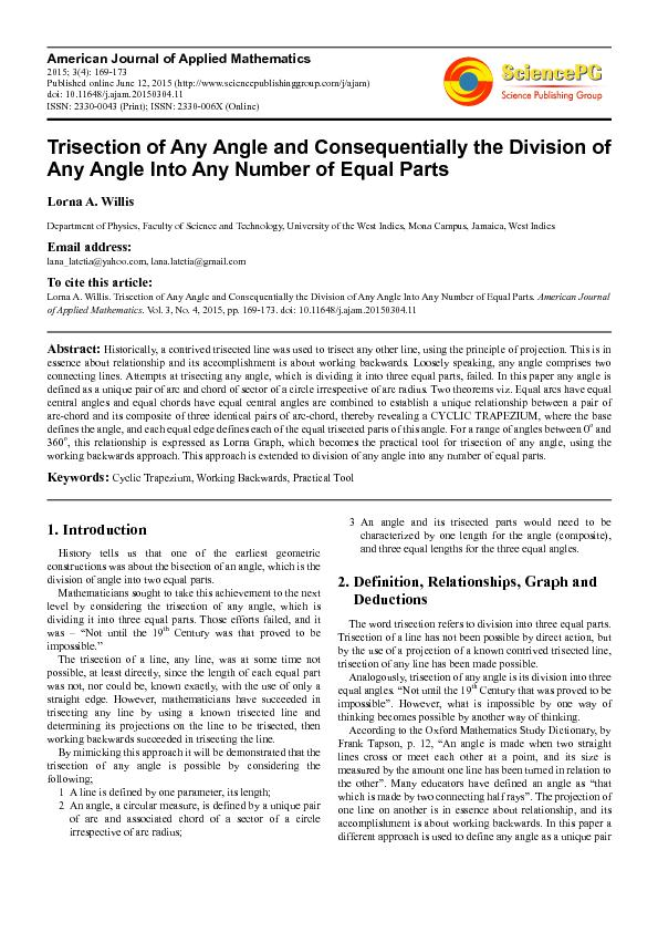 Trisection of any angle and consequentially the division of any angle into any number of equal parts PDF document - DocSlides